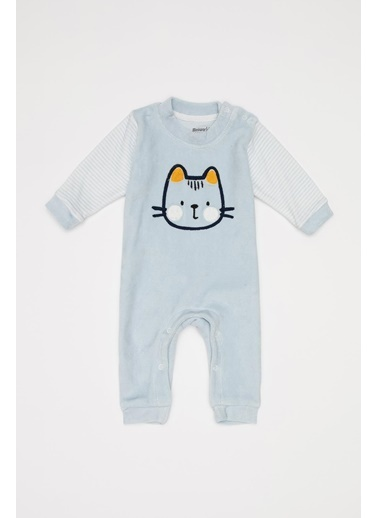 DeFacto Erkek Bebek Baskılı Çıtçıtlı Tulum Mavi